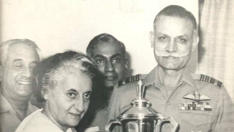 Former Air Chief Marshall, Idris Hassan Latif, with former Prime Minister Indira Gandhi