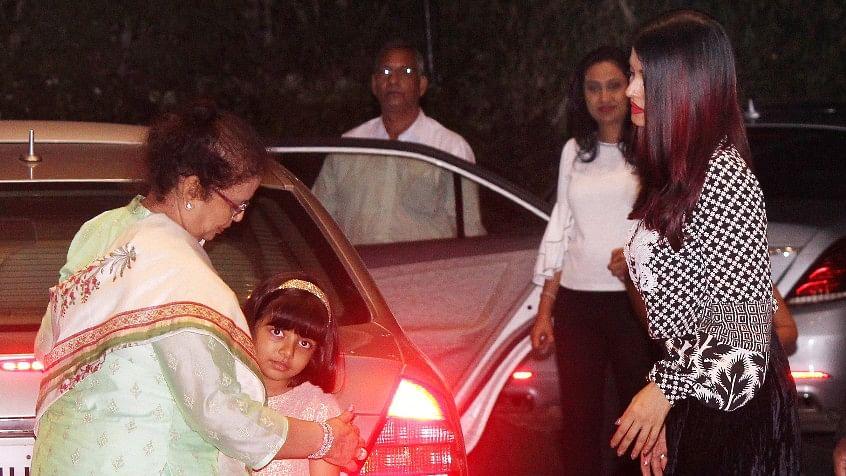 Aishwarya Rai Bachchan with mom Vrinda Rai and daughter Aaradhya.