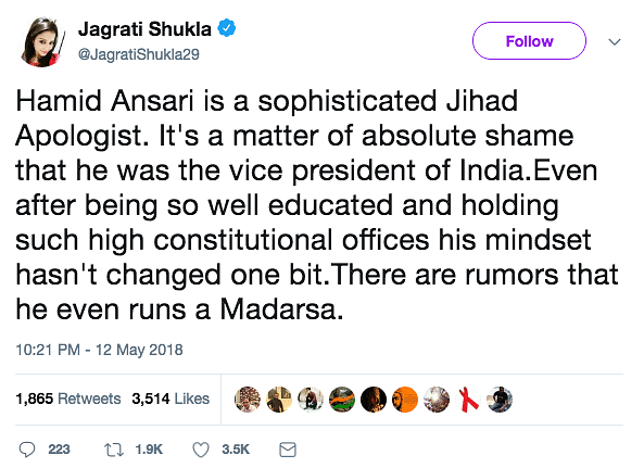 Jagrati Shukla calls Hamid Ansari a sophisticated Jihad apologist.