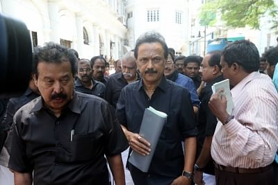 Chennai: DMK working president MK Stalin arrives at the state Assembly, in Chennai on May 29, 2018. (Photo: IANS)
