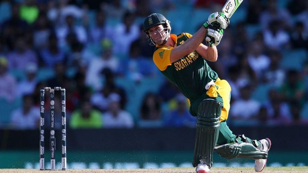 South African batsman, AB de Villiers in action.