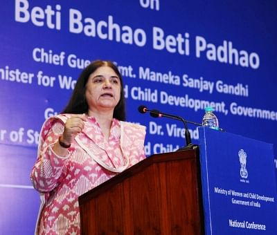 New Delhi: Union Minister for Women and Child Development Maneka Sanjay Gandhi addresses at the National Conference on Beti Bachao Beti Padhao (BBBP) - with the State Officials, District Officials/Nodal Officers, in New Delhi on May 4, 2018. (Photo: IANS/PIB)