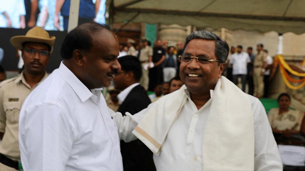 Karnataka's new chief minister HD Kumaraswamy with former CM Siddaramaiah.