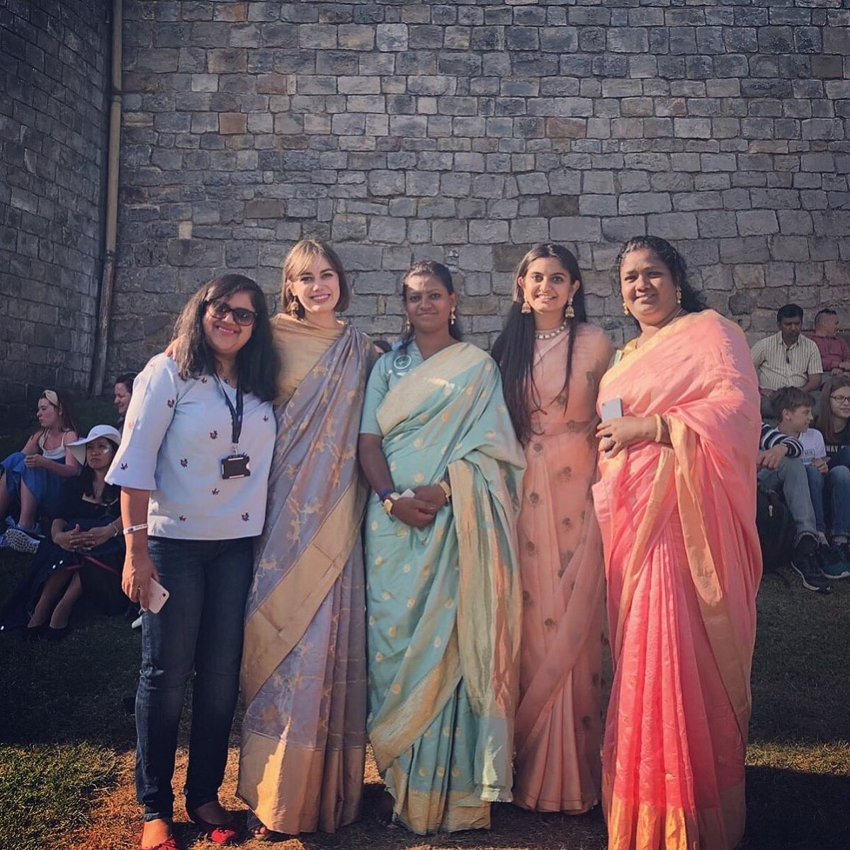 Suhani and her team members outside the Windsor Castle before the wedding.