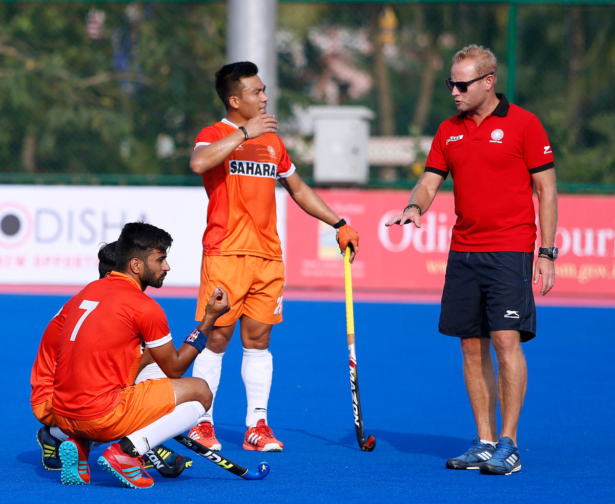 Sjoerd Marine during a training session with the Indian men's hockey team before the 2018 CWG.