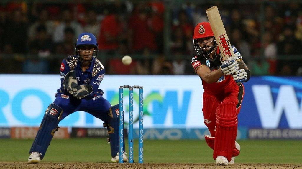 Virat Kohli  plays a shot against Mumbai Indians at the M Chinnaswamy Stadium in Bengaluru on Tuesday.
