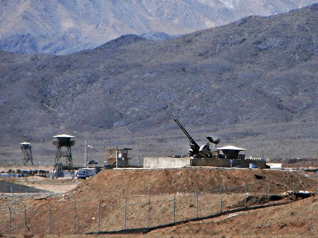 Anti-aircraft guns guarding the Natanz Nuclear Facility, Iran, on 22 June, 2006.