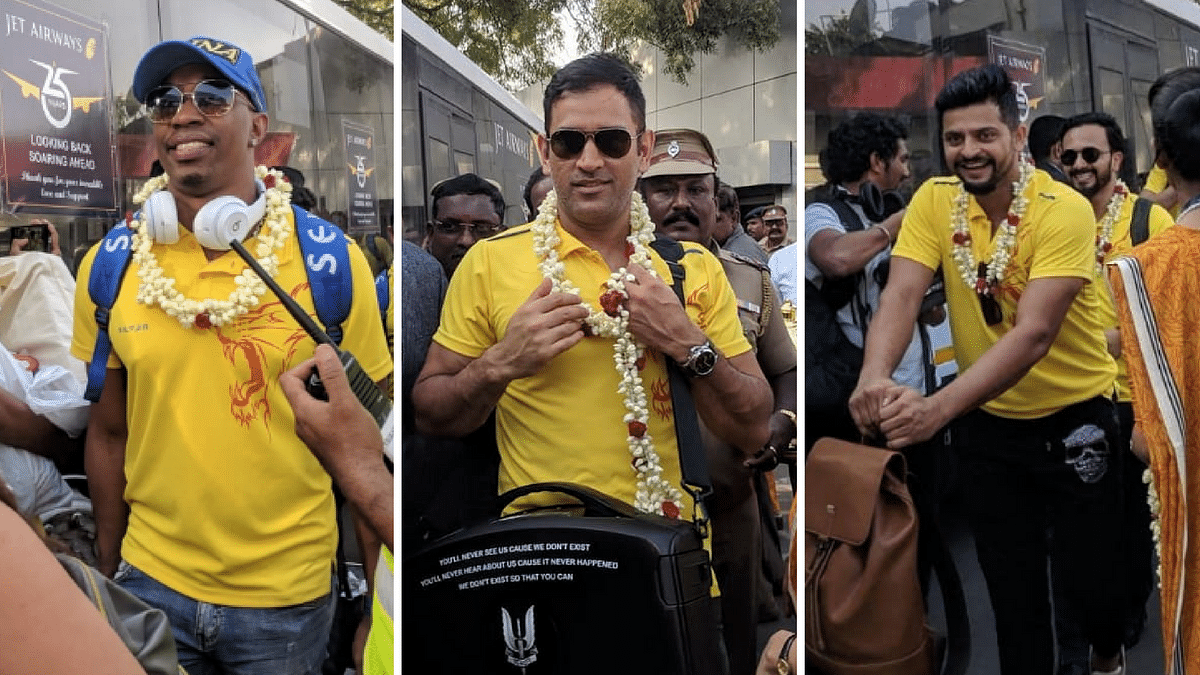 Dwayne Bravo, MS Dhoni and Suresh Raina arrive in Chennai after CSK's title triumph on Sunday night.