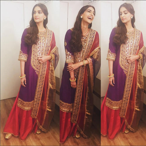 Sonam in Auradha Vakil for PRDP promotions.