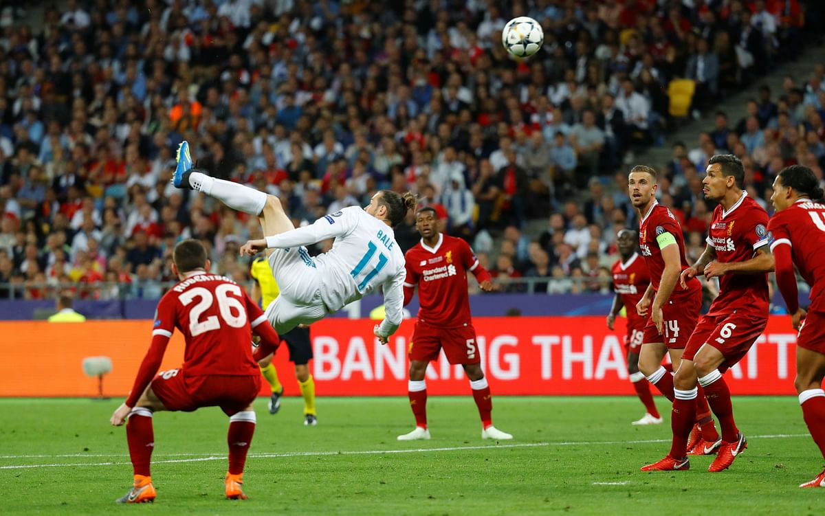 Real Madrid's Gareth Bale scores their second goal with an overhead kick.