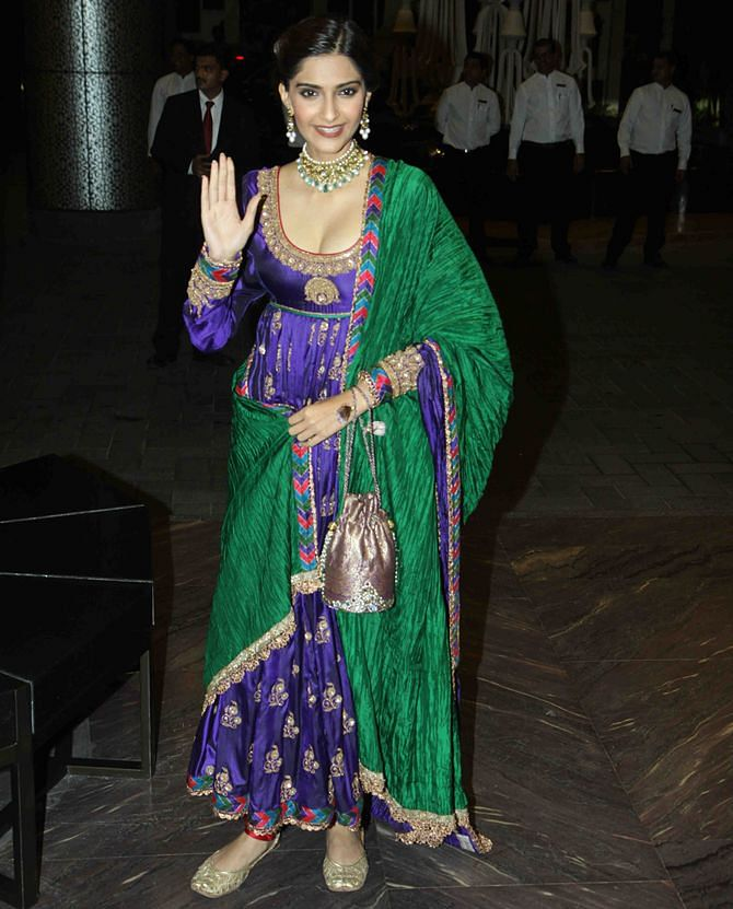 Sonam at Shahid Kapoor's reception in Mumbai.