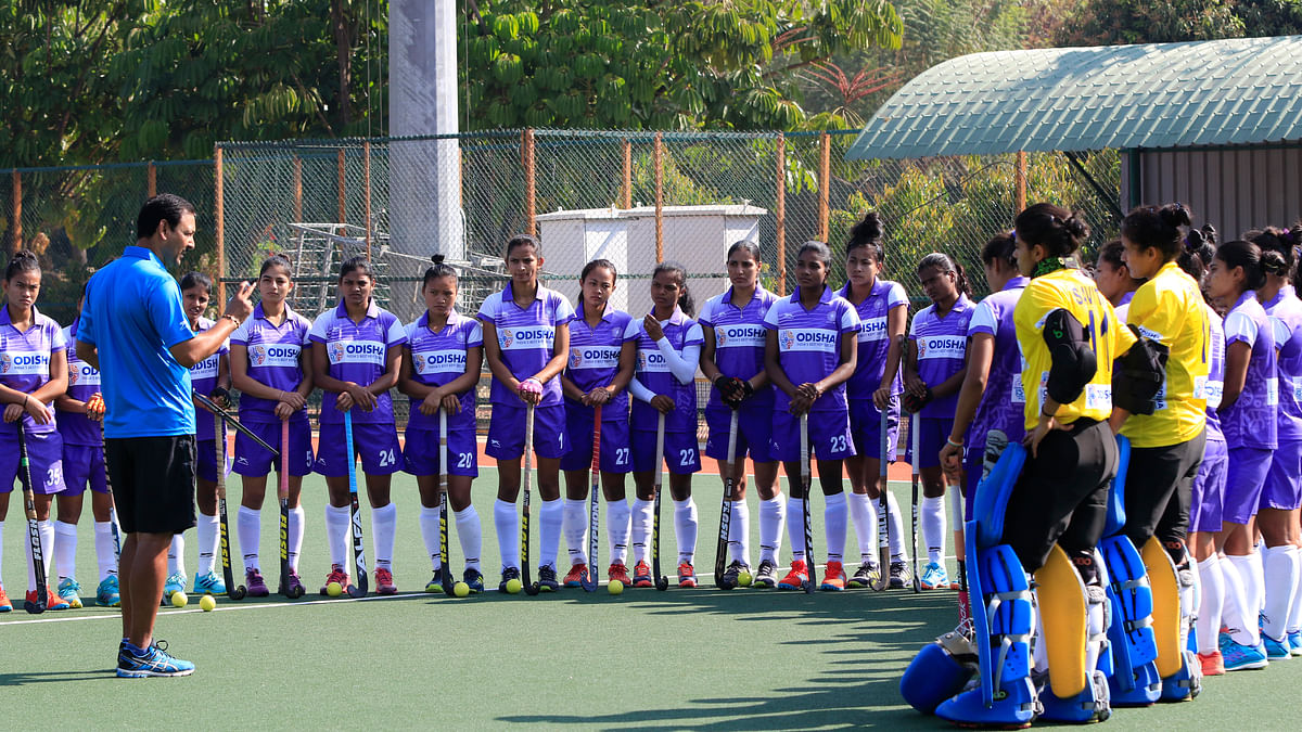 Harendra Singh with the Indian women's hockey team during their preparations for the  2018 Commonwealth Games.