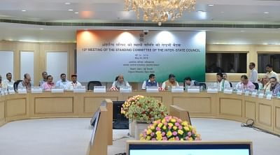 New Delhi: (L-R) Home Minister Rajnath Singh, Transport Minister Nitin Gadkari, Law and IT Minister Ravi Shankar Prasad and Railway Minister Piyush Goyal during the 13th meeting of Standing Committee of Inter-State Council at Vigyan Bhawan, in New Delhi on May 25, 2018. (Photo: IANS)