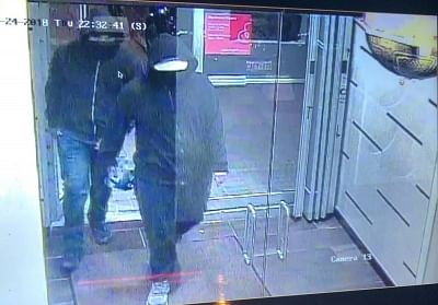 Two men, who allegedly bombed an Indian restaurant in Mississauga, Canada, on Thurday, May 24, 2018, are shown in a surveillance video shot circulated by police. (Photo: Peel Police/IANS)