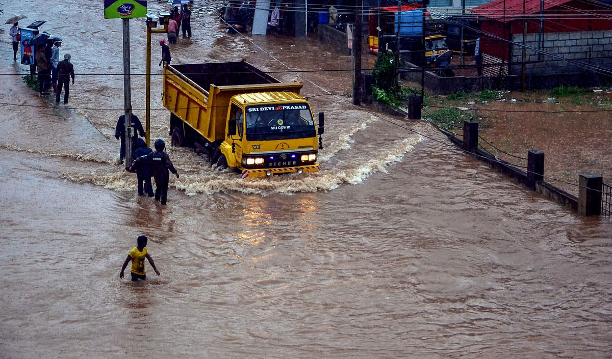 A view of a flooded locality after a thunderstorm in Mangaluru.