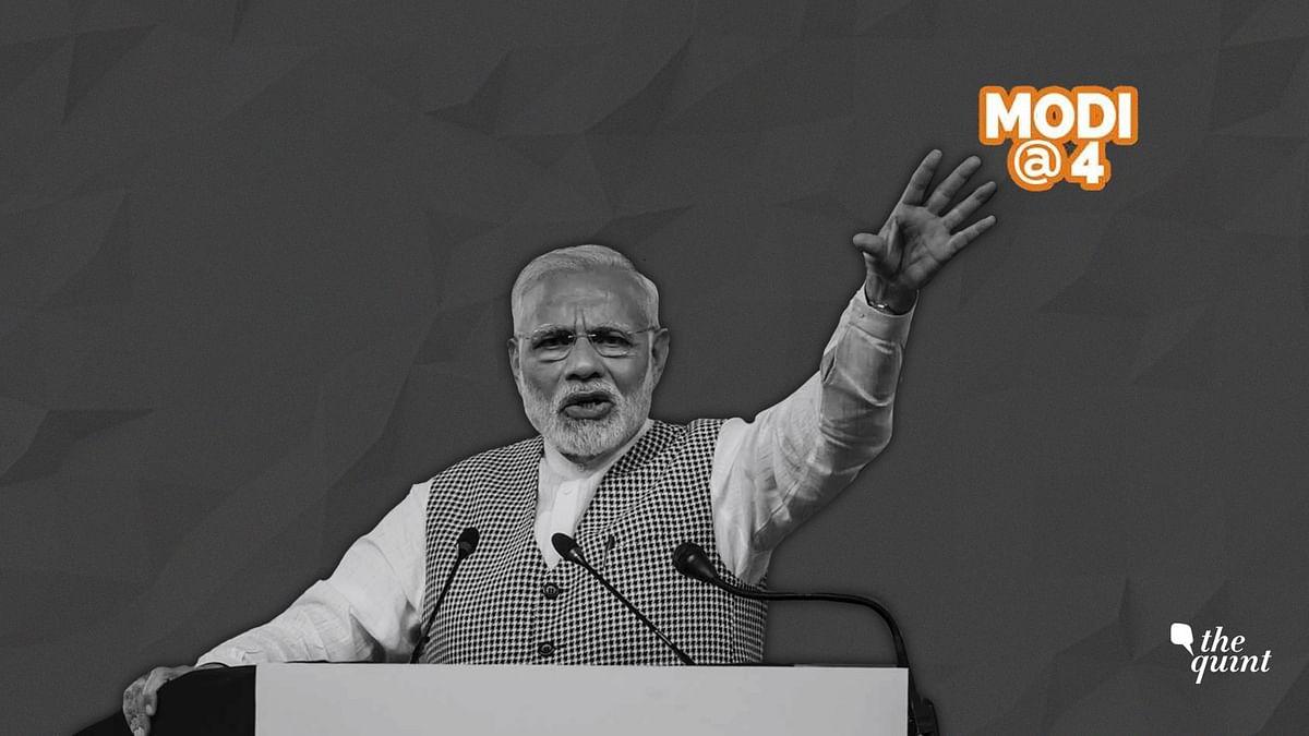 Prime Minister Narendra Modi delivers a speech.