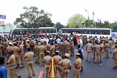 Chennai: Police personnel during  a demonstration staged by CPI-M workers against the death of civilians in police firing during anti-Sterlite protests in Tamil Nadu