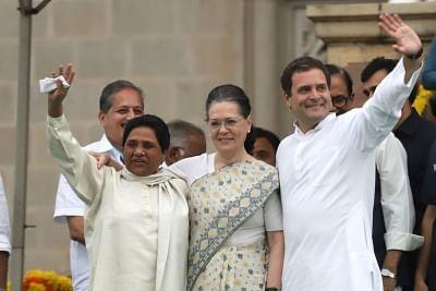 Bengaluru: Congress leaders Rahul Gandhi and Sonia Gandhi with BSP chief Mayawati during the swearing-in ceremony of Karnataka Chief Minister H.D. Kumaraswamy, at Vidhana Soudha in Bengaluru on May 23, 2018. (Photo: IANS)