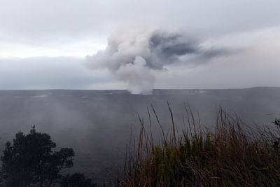 """HAWAII (U.S.), May 10, 2018 (Xinhua) -- Ash emission is seen erupting from Halemaumau of Kilauea volcano on the Hawaii Island, the United States, on May 10, 2018. As the potential for """"explosive eruptions"""" from the """"smoking"""" Kilauea volcano is rising, which could spray """"ballistic rocks"""" and ash over nearby towns, local authorities are putting extra emergency measures in place. (Xinhua/Tao Xiyi/IANS)"""