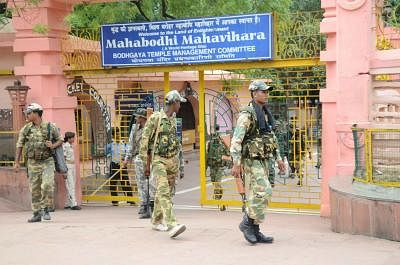 Serial blasts in Mahabodhi temple in Bihar`s Bodhgaya district. The first blast took place inside the temple complex shortly after 5 am, followed by seven successive explosions on Sunday 7, July 2013. (Photo: IANS)