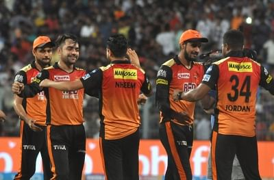 Kolkata: Sunrissers Hyderabad celebrate after winning the Qualifier 2 match of IPL 2018 against Kolkata Knight Riders at the Eden Gardens in Kolkata, on May 25, 2018. (Photo: Kuntal Chakrabarty/IANS)