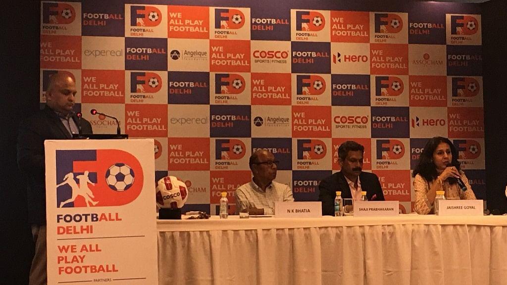 On the dias from left: N K Bhatia (Treasurer, Football Delhi), Shaji Prabhakran (President,  Football Delhi) and Jayashree Goyal (Head- CSR, Angelique International Limited)