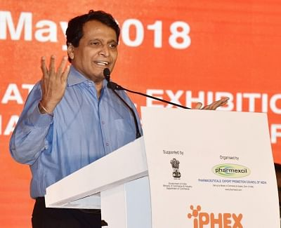 New Delhi: Union Minister for Commerce and Industry and Civil Aviation Suresh Prabhakar Prabhu addresses at the inauguration of the 6th International Exhibition of Pharma and Healthcare (iPHEX), the annual flagship event of the Pharmaceuticals Export Promotion of India (PHARMEXCIL), in New Delhi on May 8, 2018. (Photo: IANS/PIB)