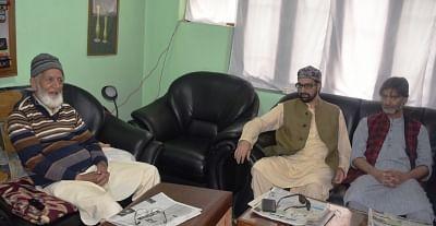 Srinagar: Joint Resistance Leadership (JRL) comprising Mirwaiz Umar Farooq, Syed Ali Geelani and Muhammad Yasin Malik during a meeting in Hyderpora, Srinagar on May 29, 2018. (Photo: IANS)