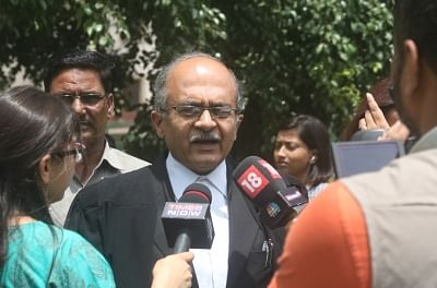 New Delhi: Lawyer Prashant Bhushan addressing media on CJI impeachment case at Supreme Court lawn in New Delhi on May 8, 2018. (Photo: IANS)