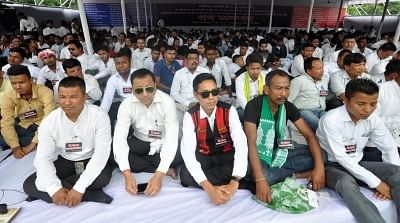 Guwahati: Activist of All Assam Students Union supported by at least 28 other organisations participate in a mass hunger strike to protest against the Citizenship (Amendment) Bill 2016, in Guwahati on May 29, 2018. The Bill amends the Citizenship Act, 1955 to make illegal migrants who are Hindus, Sikhs, Buddhists, Jains, Parsis and Christians from Afghanistan, Bangladesh and Pakistan, eligible for citizenship. (Photo: IANS)