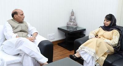 Jammu and Kashmir Chief Minister Mehbooba Mufti calls on Union Home Minister Rajnath Singh. (Photo: IANS/PIB)