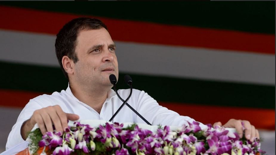 Congress President Rahul Gandhi addresses a rally in pollthe upcoming Karnataka elections in 2018.