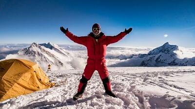 Mountaineer Arjun Vajpai at Camp 4.