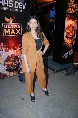 """Mumbai: Actress Aditi Rao Hydari at the special screening of upcoming film """"Daas Dev"""" in Mumbai on April 25, 2018. (Photo: IANS)"""