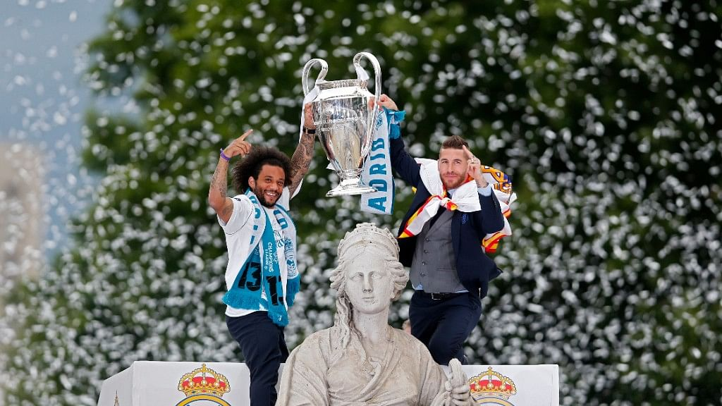 Captain Sergio Ramos and Marcelo lead the celebrations in Madrid.