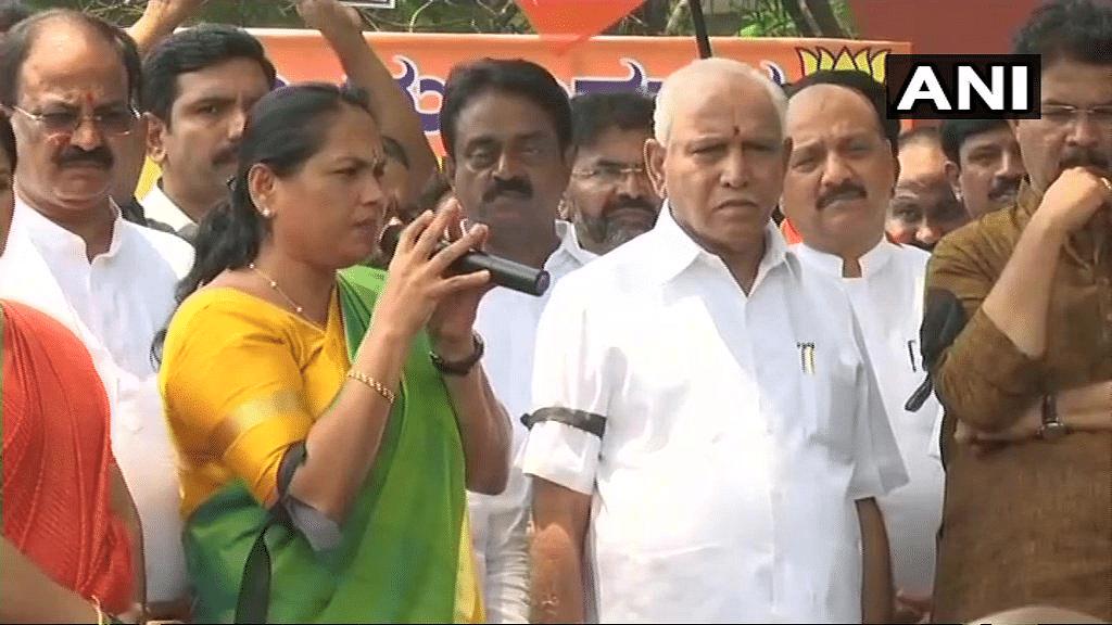 BJP organised an 'Anti-People's Mandate Day' protests in Karnataka.