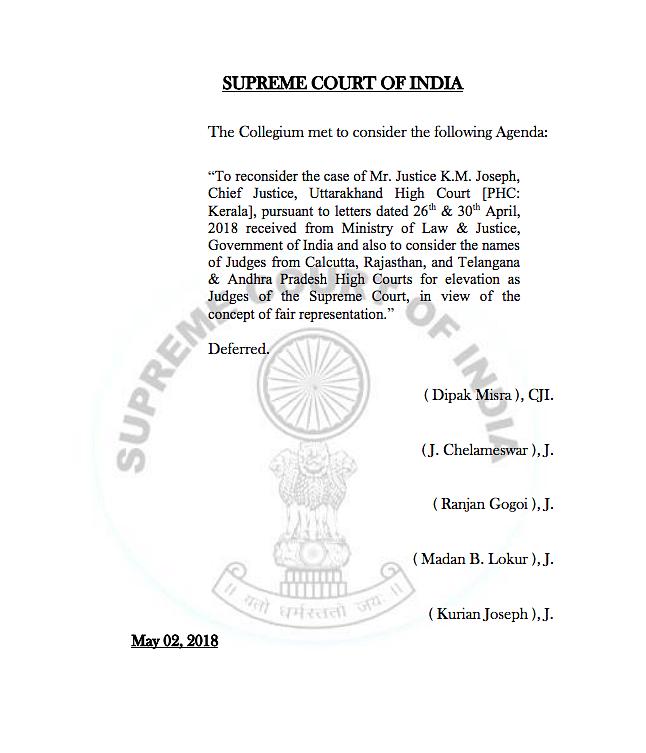 SC Collegium Defers Reiteration of KM Joseph's Name for Top Court