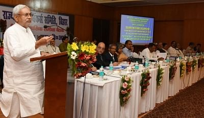 Patna: Bihar Chief Minister Nitish Kumar addresses during the State Level Bankers