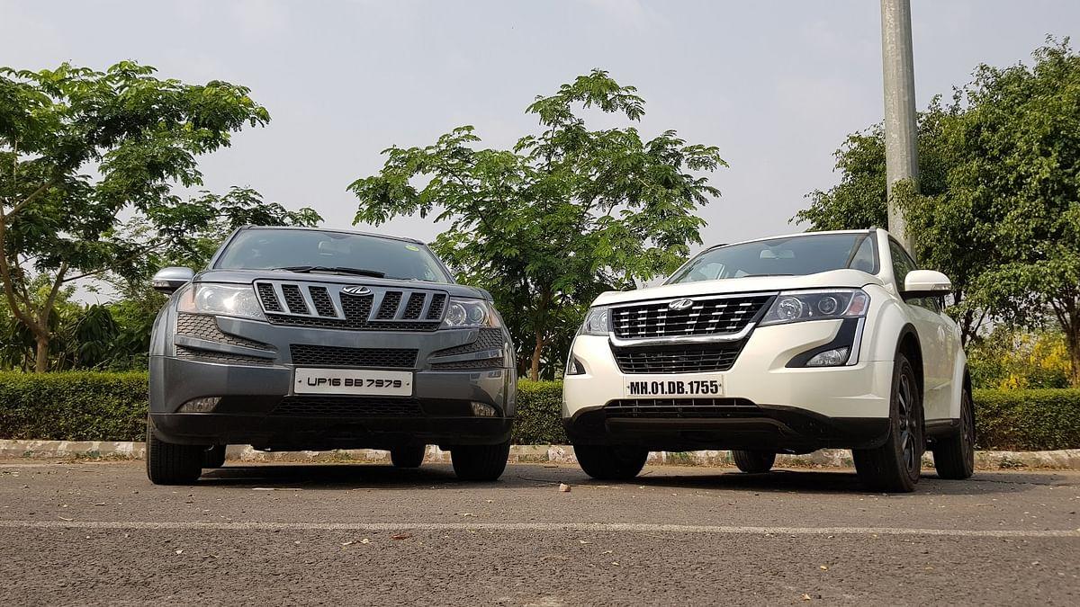 A 2011 Mahindra XUV500 W8 besides the new 2018 Mahindra XUV500 W11 AT AWD