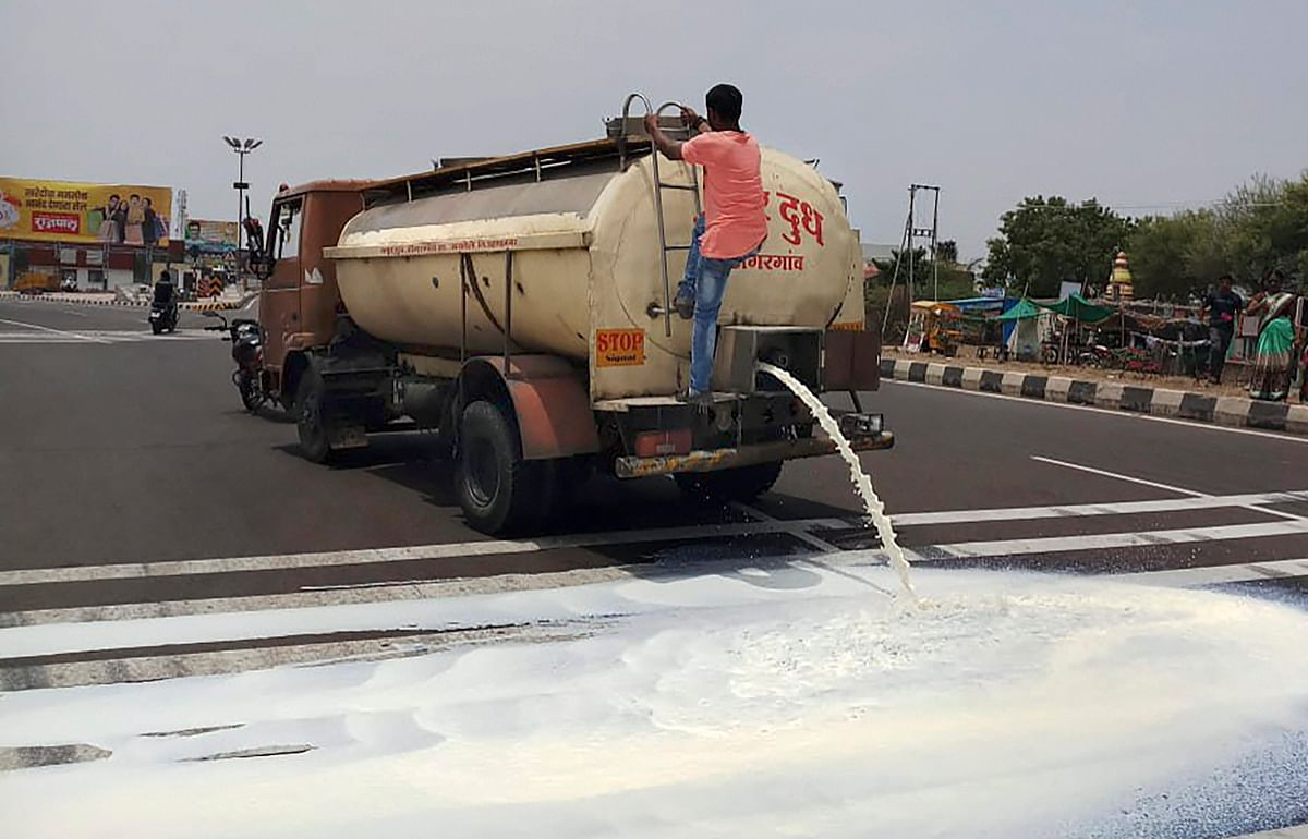 A dairy truck dumping milk on the street