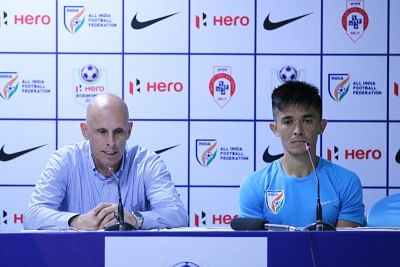Mumbai: Indian national football team coach Stephen Constantine and captain Sunil Chhetri addresses a press conference in Mumbai on June 2, 2018. (Photo: IANS)