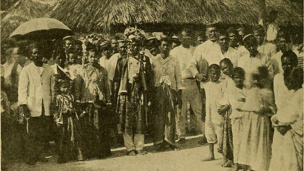 Cocos Malay photo from the 1910s showing a wedding procession that is still practised today with the groom pictured going to the bride's house accompanied by members of the community.