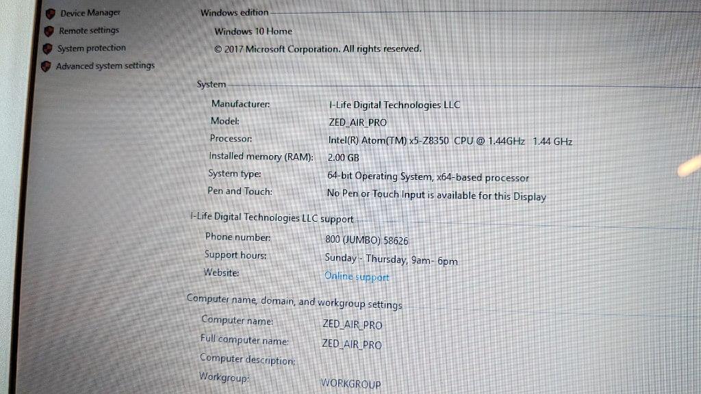 2GB RAM and latest version of Windows 10 with regular updates.
