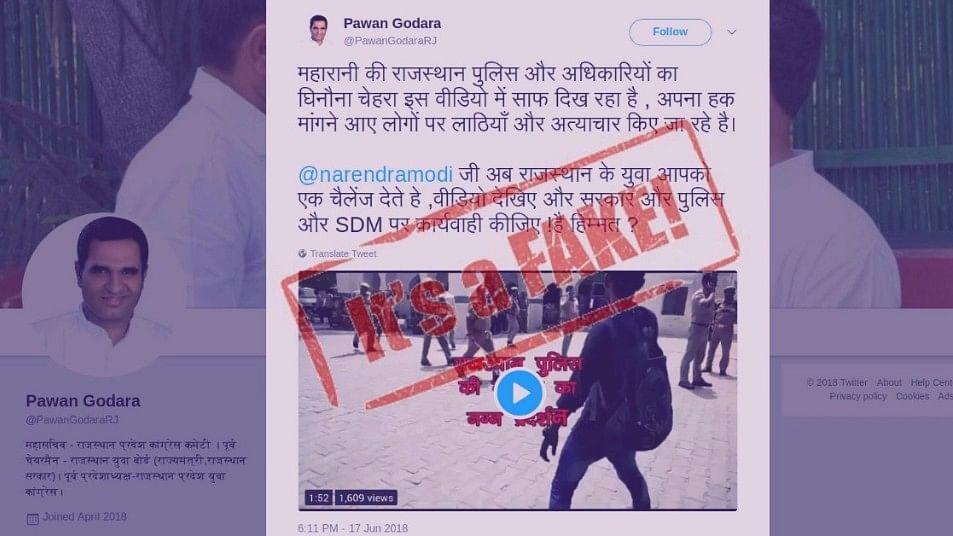 Tweet by General Secretary of Rajasthan Congress Committee Pawan Godara.