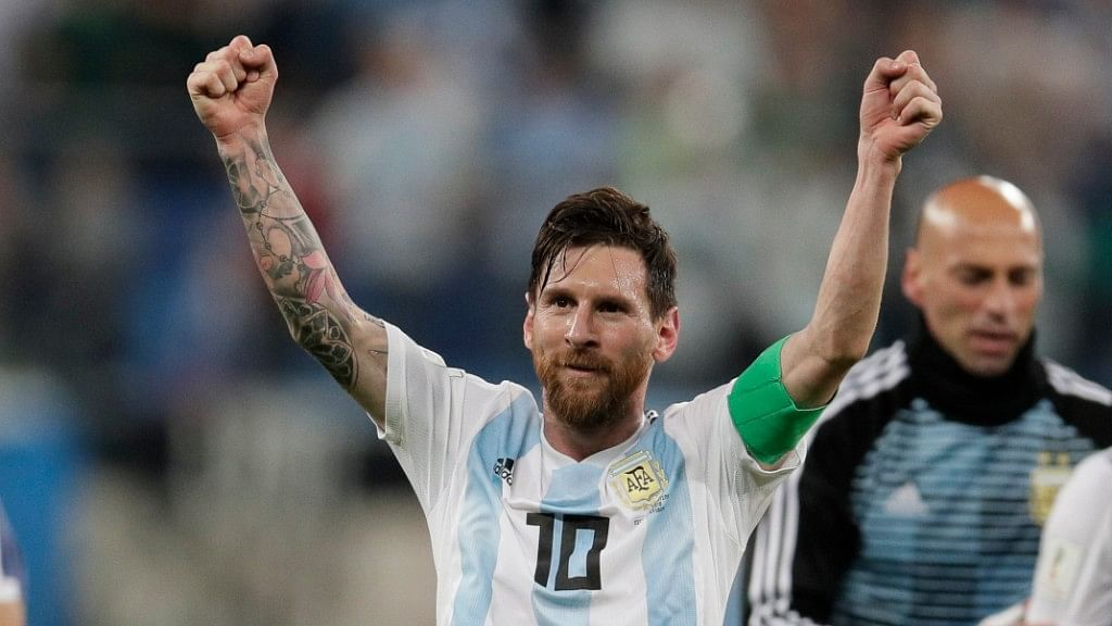 Argentina's Lionel Messi scored the 100th goal of the competition in Russia.