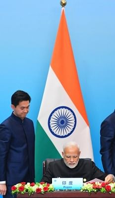 Qingdao: Prime Minister Narendra Modi at the Signing Ceremony of the Shanghai Cooperation Organisation (SCO) Summit, in Qingdao, China on June 10, 2018. (Photo: IANS/PIB)