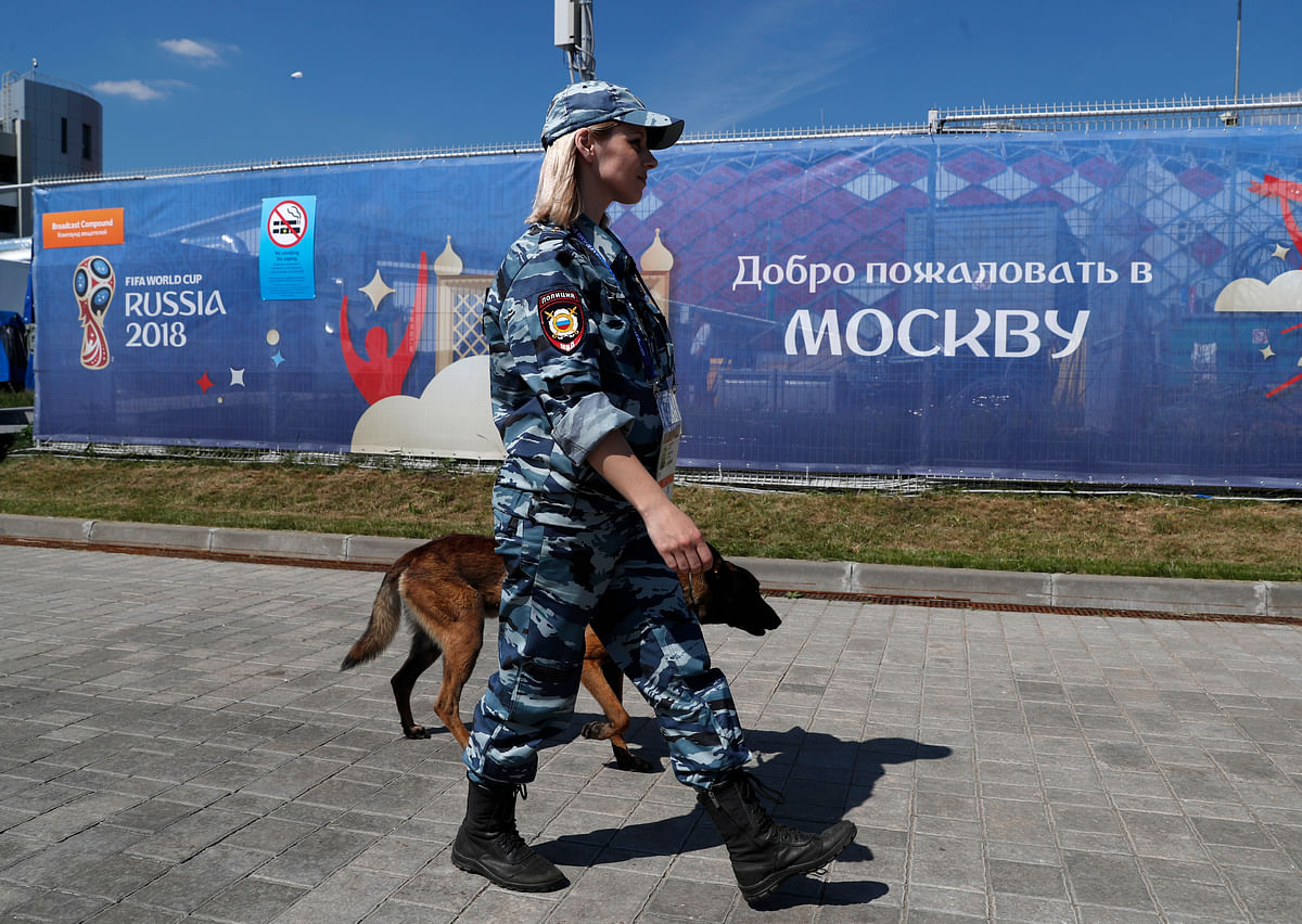 A police officer patrols outside the stadium ahead of the group D match between Argentina and Iceland at the FIFA World Cup 2018