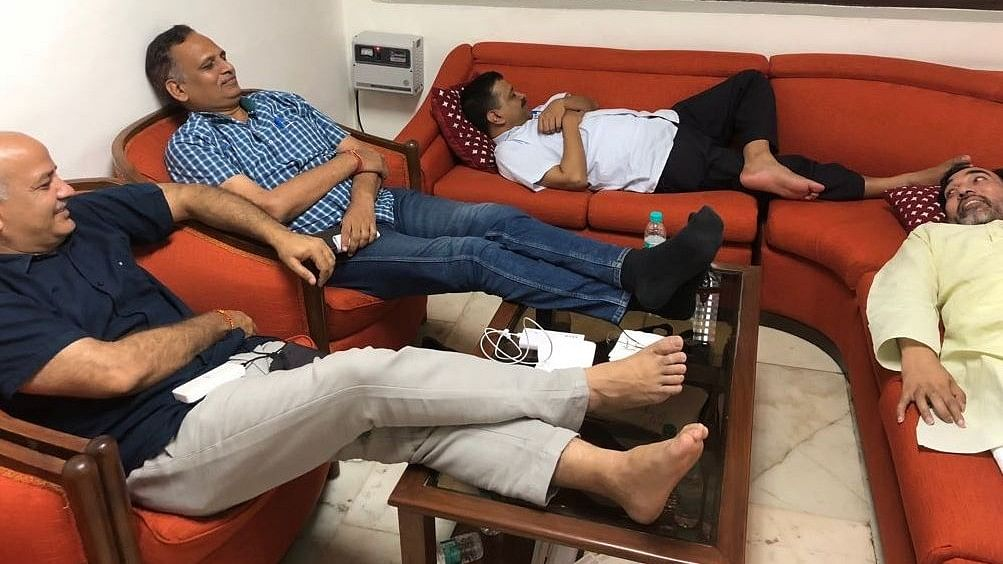 Delhi Chief Minister Arvind Kejriwal and his Cabinet colleagues spending a night at Lt Governor Anil Baijal's office.