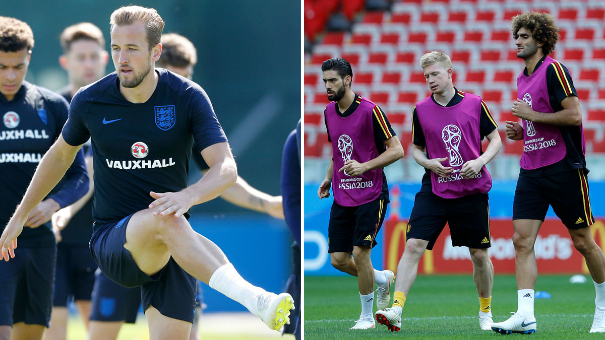 England's Harry Kane and Belgium's Yannick Carrasco,  Kevin De Bruyne,  Marouane Fellaini warming up during their official training.