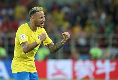 MOSCOW, June 27, 2018 (Xinhua) -- Neymar of Brazil celebrates victory after the 2018 FIFA World Cup Group E match between Brazil and Serbia in Moscow, Russia, June 27, 2018. Brazil won 2-0 and advanced to the round of 16. (Xinhua/Bai Xueqi/IANS)